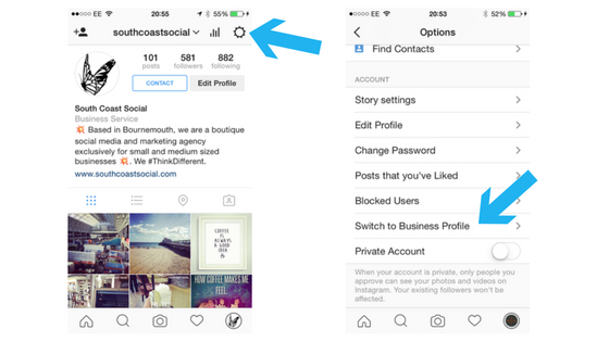 Then Go To Your Profile Page And Tap On The Wheel At Top Right Select Switch Business