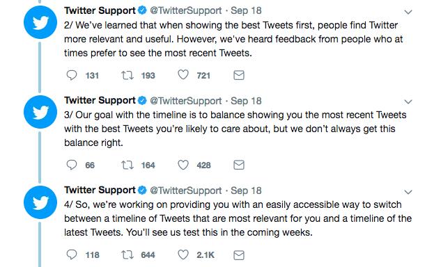 Twitter chronological timeline