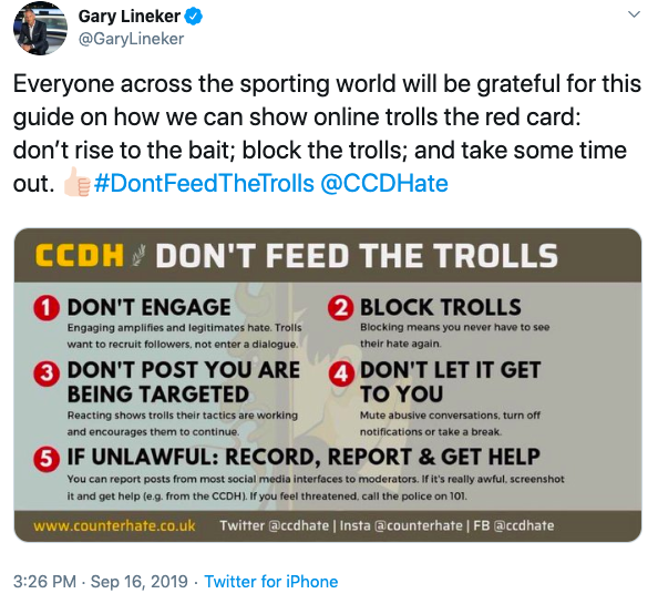 Gary Lineker tweet - Dont Feed The Trolls social media campaign