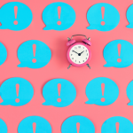 Reactive social media - clock and exclamation points