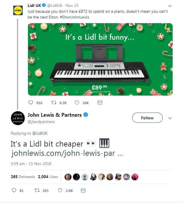 Lidl Christmas reactive post - Elton John John Lewis piano ad