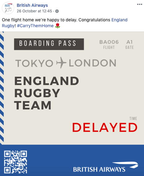 British Airways reactive social post - Boarding pass showing England Rugby Team as delayed