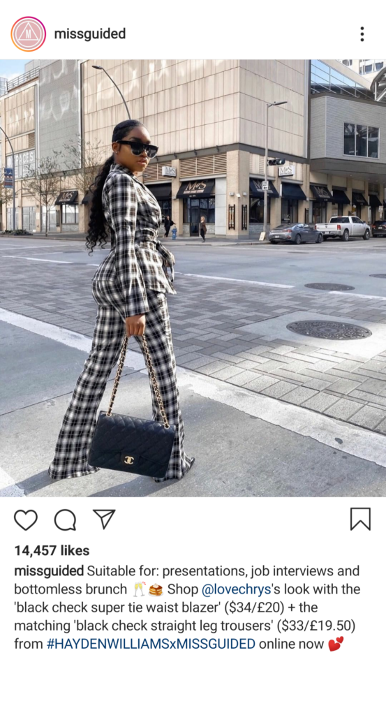 Missguided - Instagram post