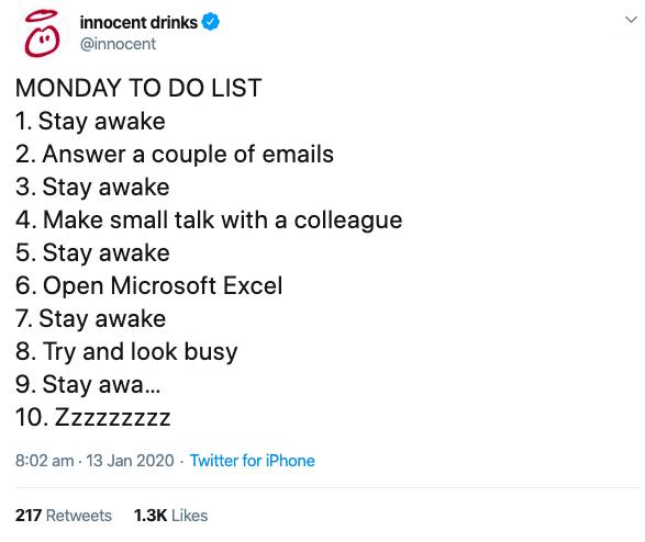 Innocent Drinks - creative social media - Monday to-do list
