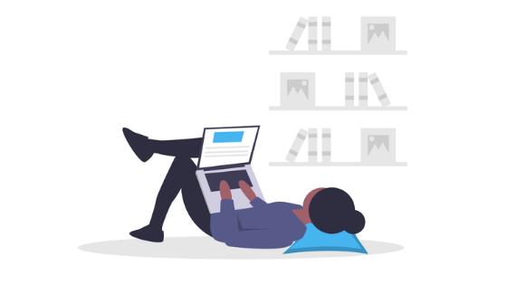 girl laying down on laptop illustration