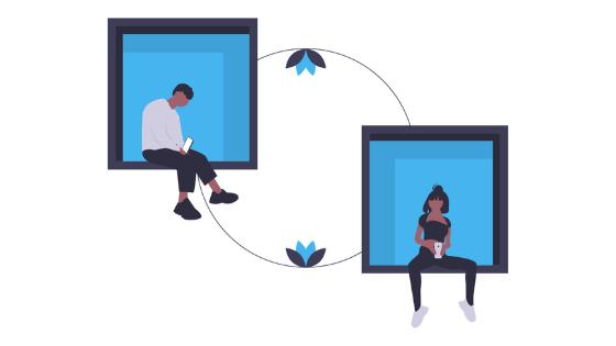 chatting remotely illustration