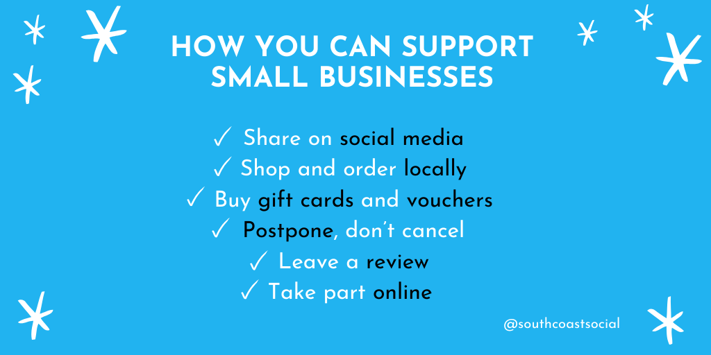 Support Small Businesses - social media graphic from South Coast Social