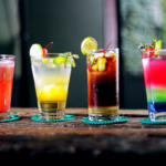 colourful line of cocktails