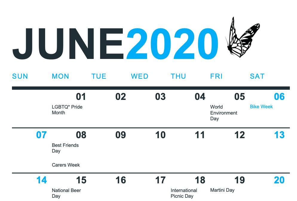 Free Social Media Holiday Calendar - June 2020 - South Coast Social