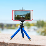 Phone filming outside on a tripod