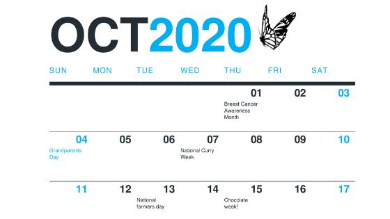 Oct 2020 South Coast Social Calendar